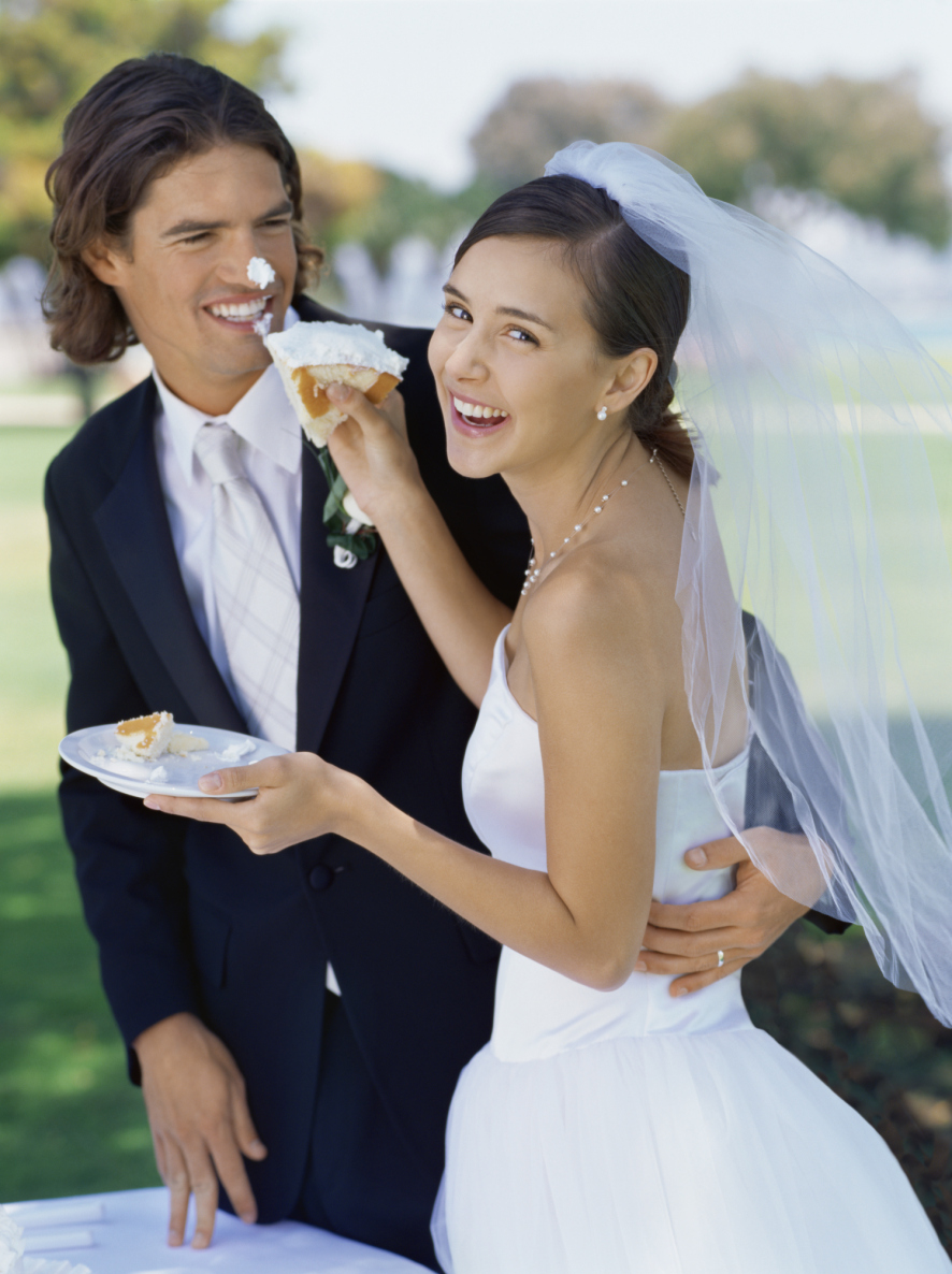 couple eats wedding cake 60 years dj services 13015